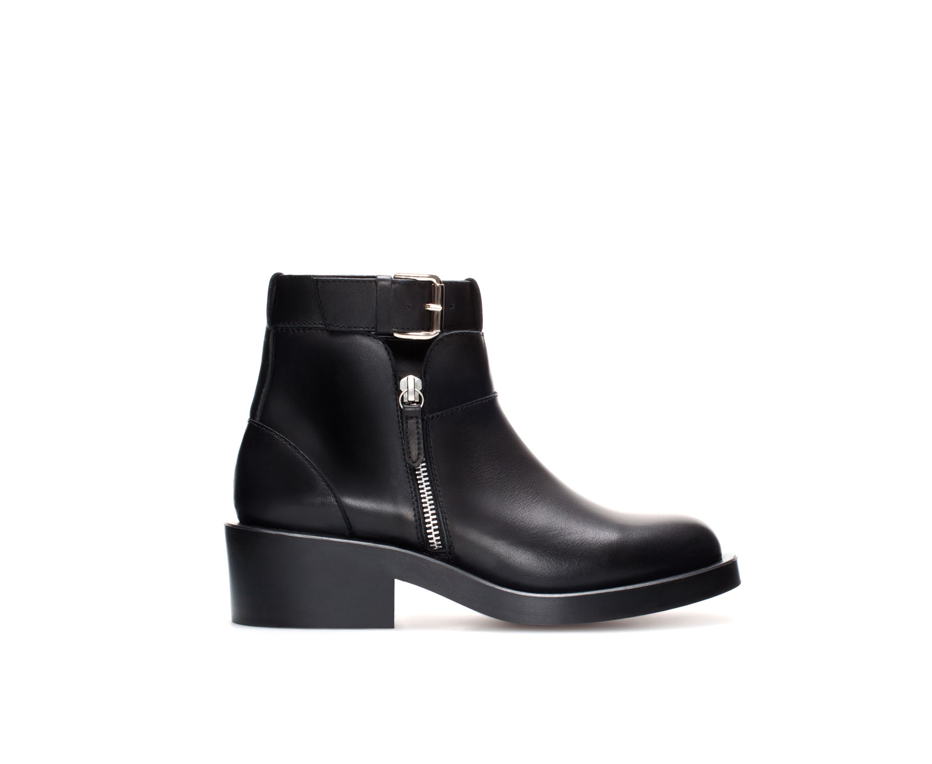 Zara Flat Leather Ankle Boot with Buckle in Black | Lyst