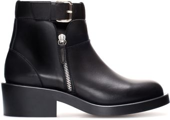 Zara Flat Leather Ankle Boot with Buckle - Lyst