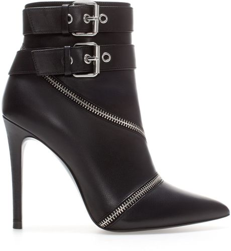 zara high heel leather ankle boot with zips in black lyst