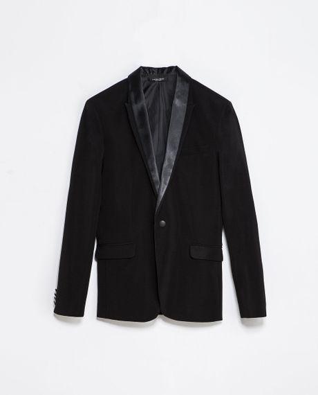 Zara Mocklayer Blazer with A Tuxedo Collar in Black for ...