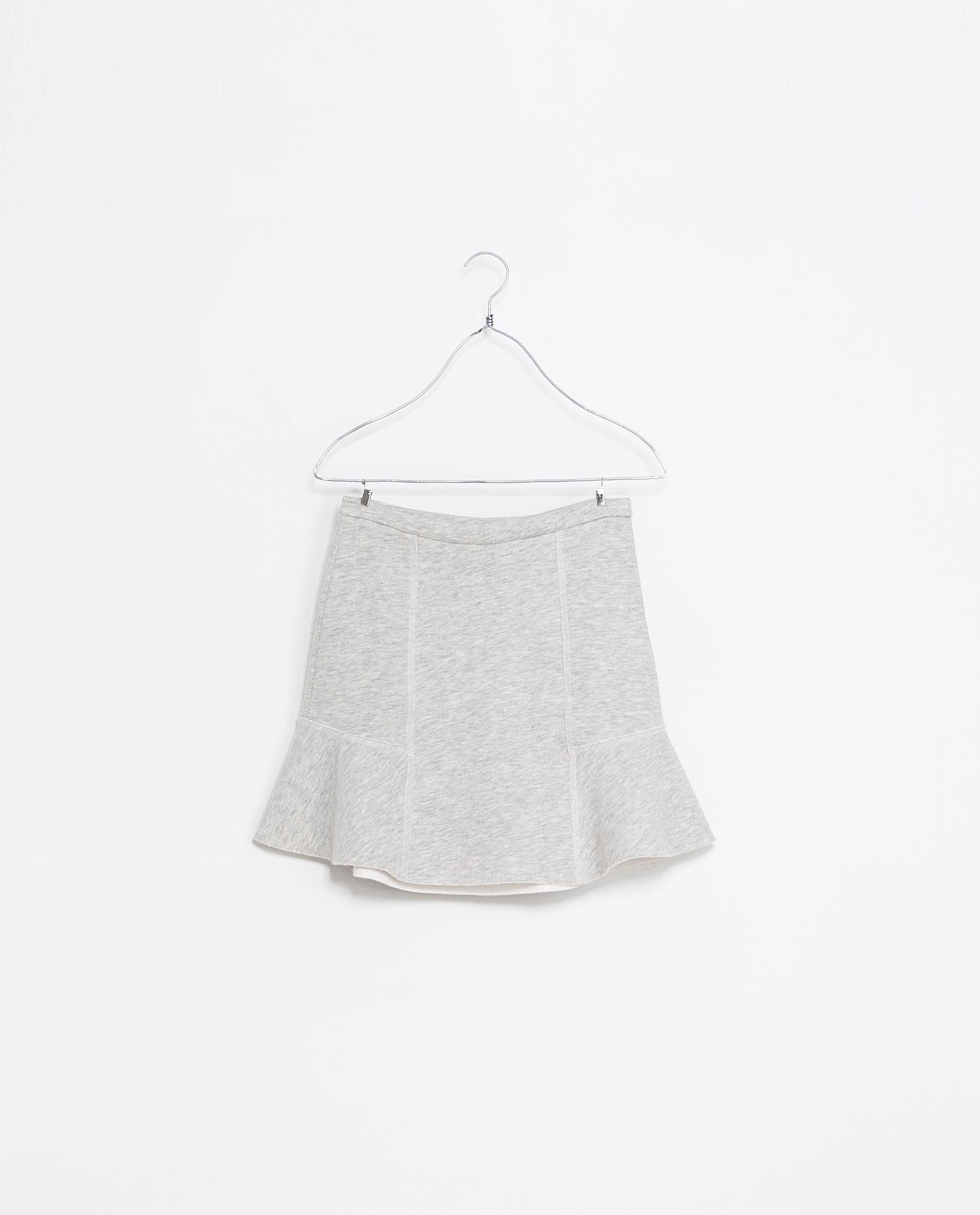 Zara Flared Skirt in Gray | Lyst