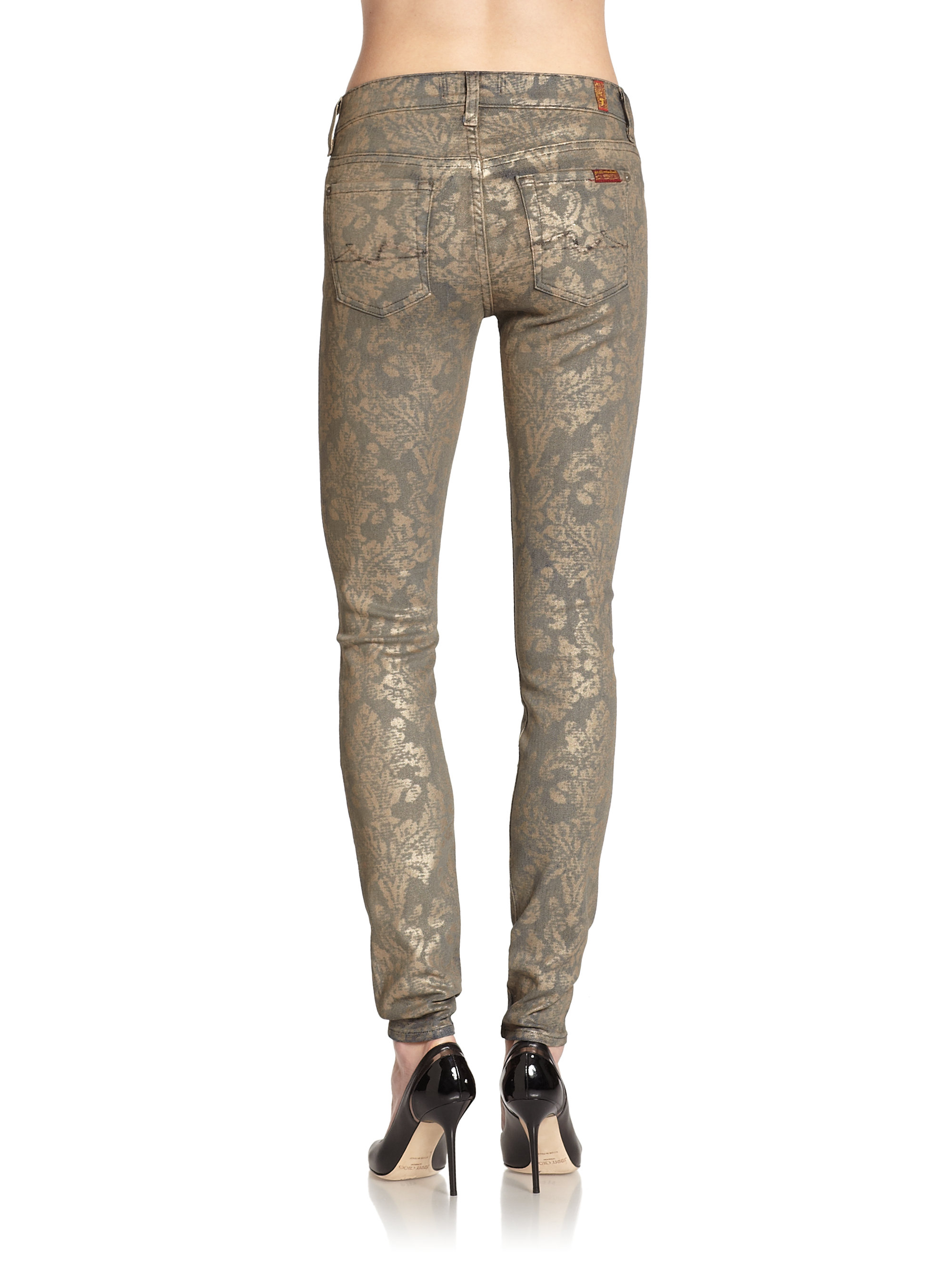 for all mankind metallic baroque print coated skinny jeans lyst. Black Bedroom Furniture Sets. Home Design Ideas