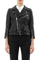 Alexander McQueen Leather Peplum Biker Jacket - Lyst
