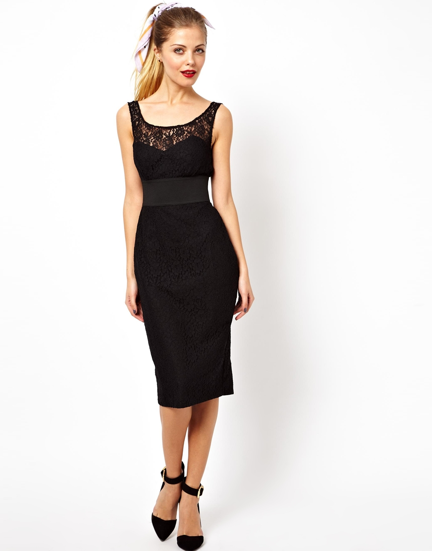 Black midi pencil dress