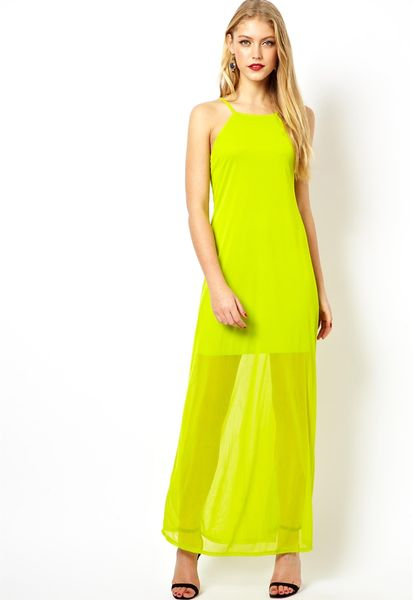 Asos Cami Sheer Maxi Dress in Yellow (Chartreuse) | Lyst