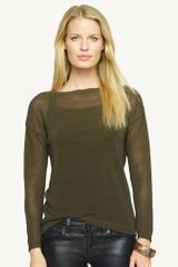 Black Label Sheer Boat Neck Top - Lyst