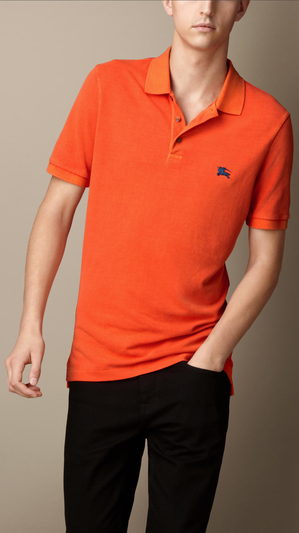 991702c35 Burberry Cotton Jersey Double Dyed Polo Shirt in Orange for Men - Lyst