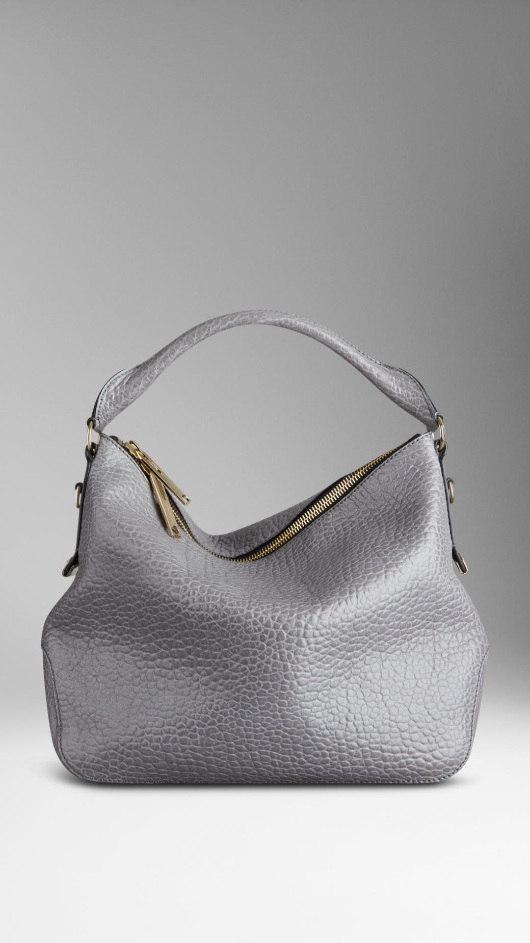 Burberry Small Heritage Grain Leather Hobo Bag in Gray | Lyst