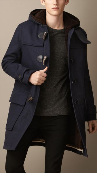 Burberry Double Faced Wool Duffle Coat with Shearling Lining - Lyst