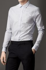 Burberry Modern Fit Micro Check Cotton Shirt - Lyst