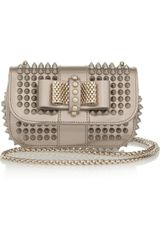 Christian Louboutin Sweet Charity Studded Metallic Leather Shoulder Bag - Lyst