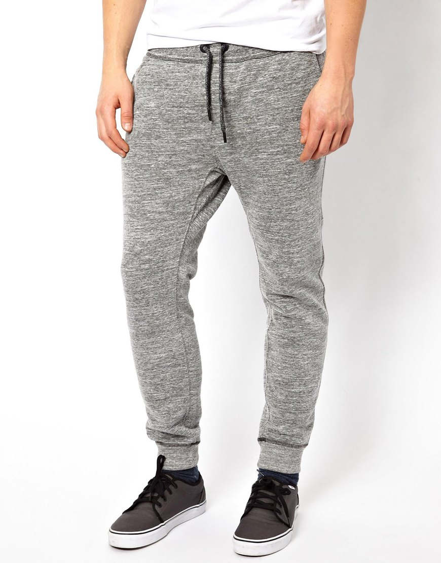 Diesel Sweat Pants Pascale Tapered Melange in Gray for Men | Lyst