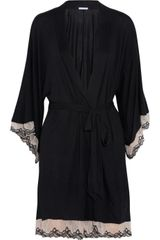 Eberjey From The Heart Lace Trimmed Stretch Jersey Robe - Lyst