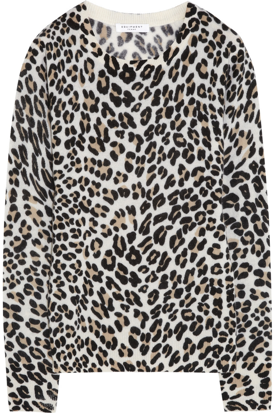 Equipment Shane Leopard Print Cashmere Sweater in Black | Lyst