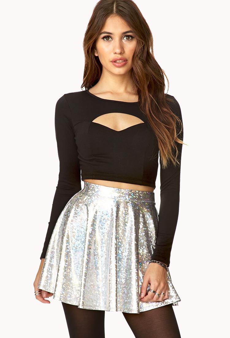 Forever 21 Futuristic Skater Skirt in Metallic | Lyst