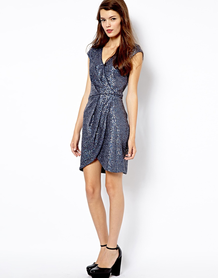 Fred perry Oasis Sequin Wrap Dress in Blue  Lyst