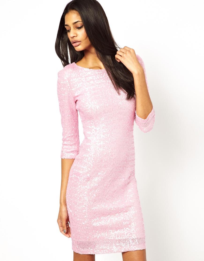 Tfnc london Long Sleeve Sequin Dress in Pink
