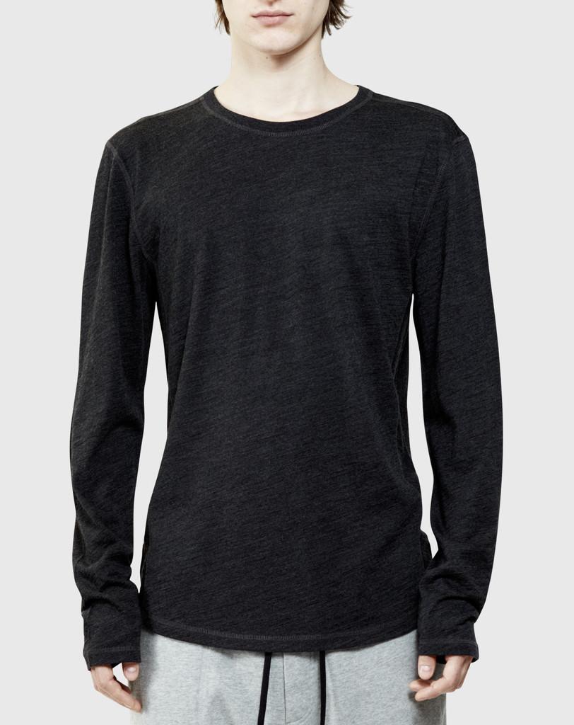 isaora merino long sleeve t shirt charcoal in black for
