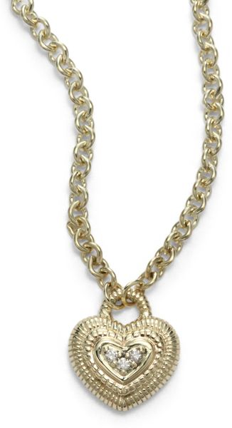 Judith Ripka Pave Diamond 14k Yellow Gold Heart Pendant