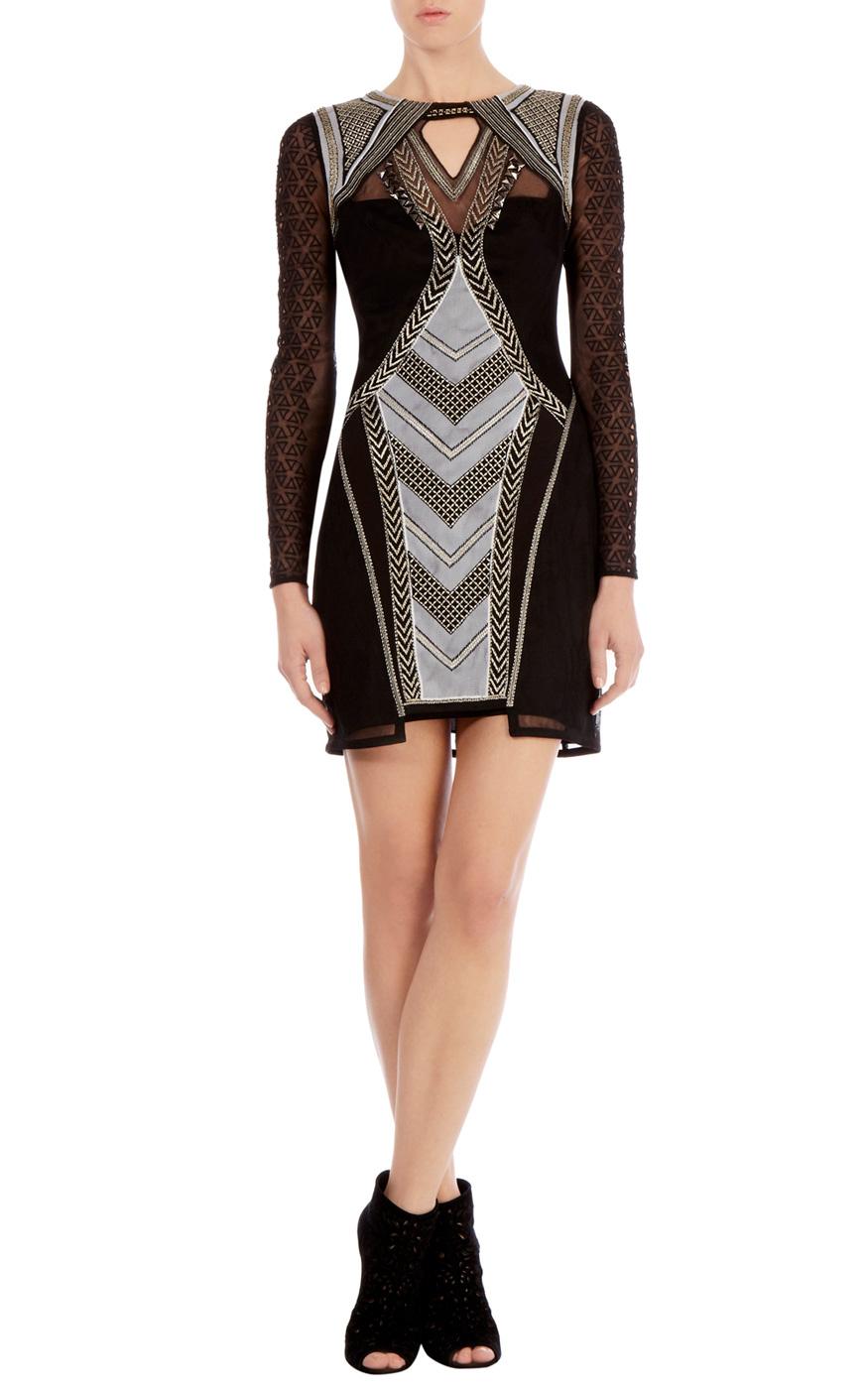 Karen Millen Geometric Embroidery Dress In Black Lyst