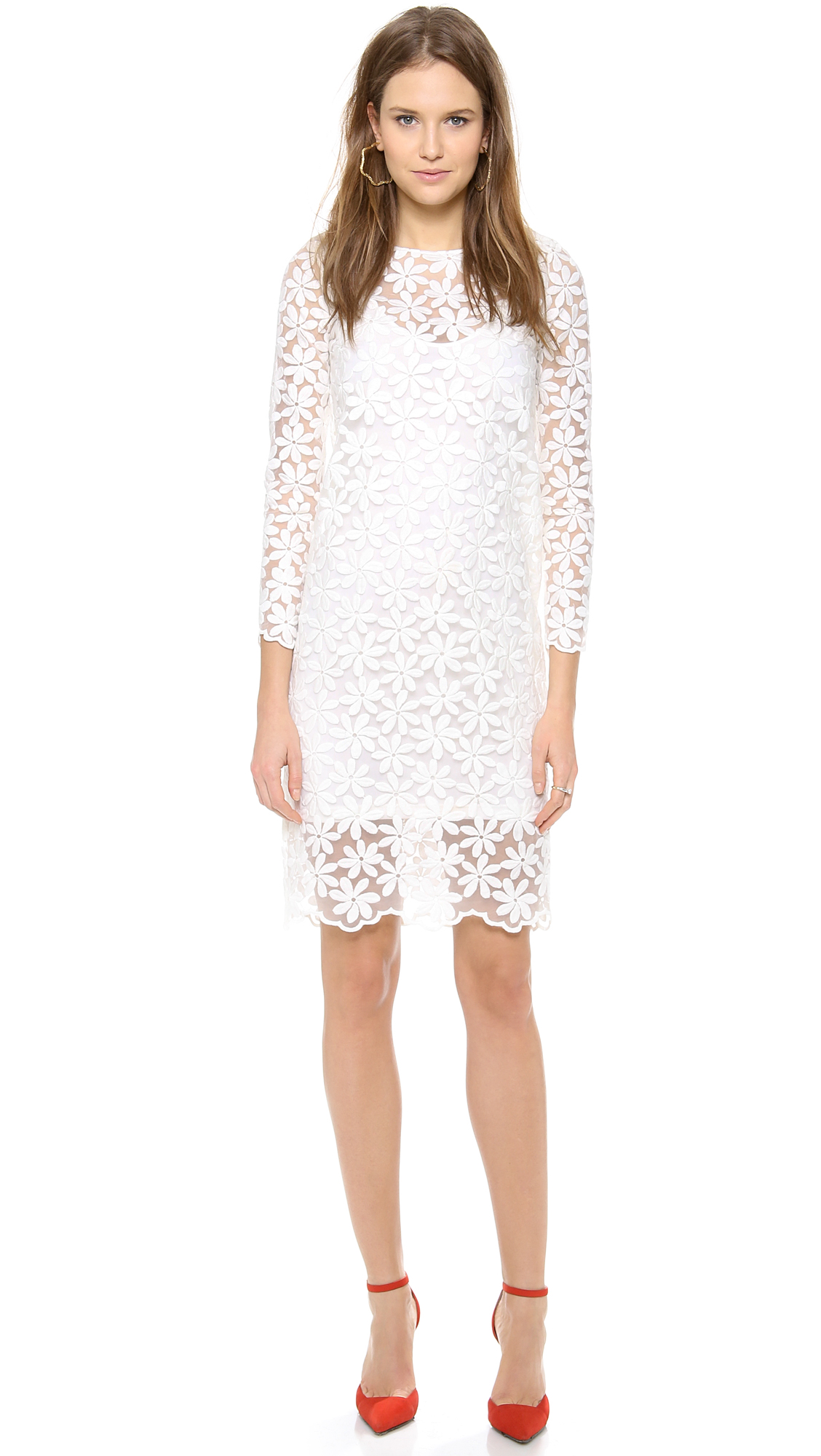 Karla Špetic floral embroidered organza dress in white lyst