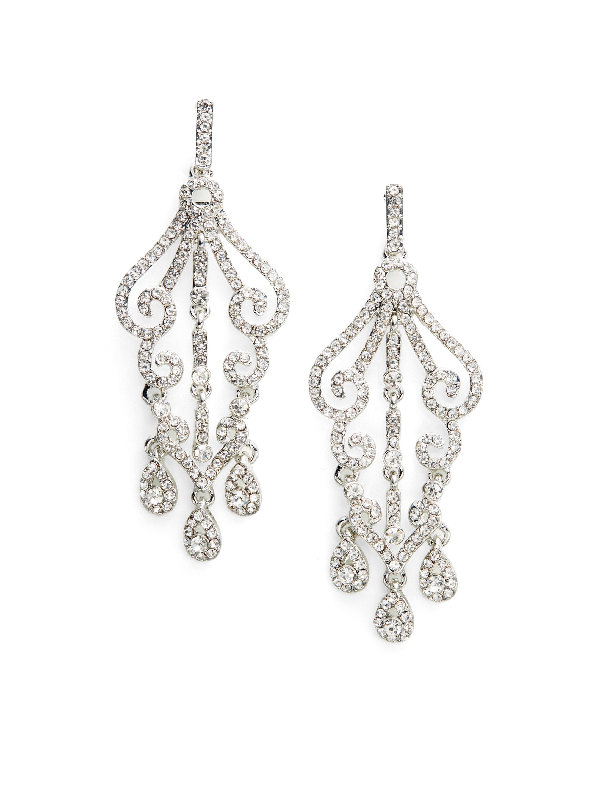 kenneth sparkle chandelier earrings in metallic