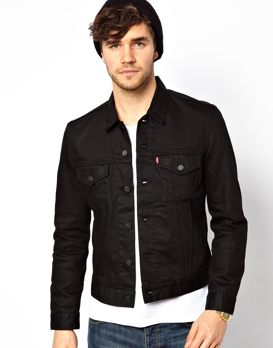 Mens Black Denim Jacket - Coat Nj