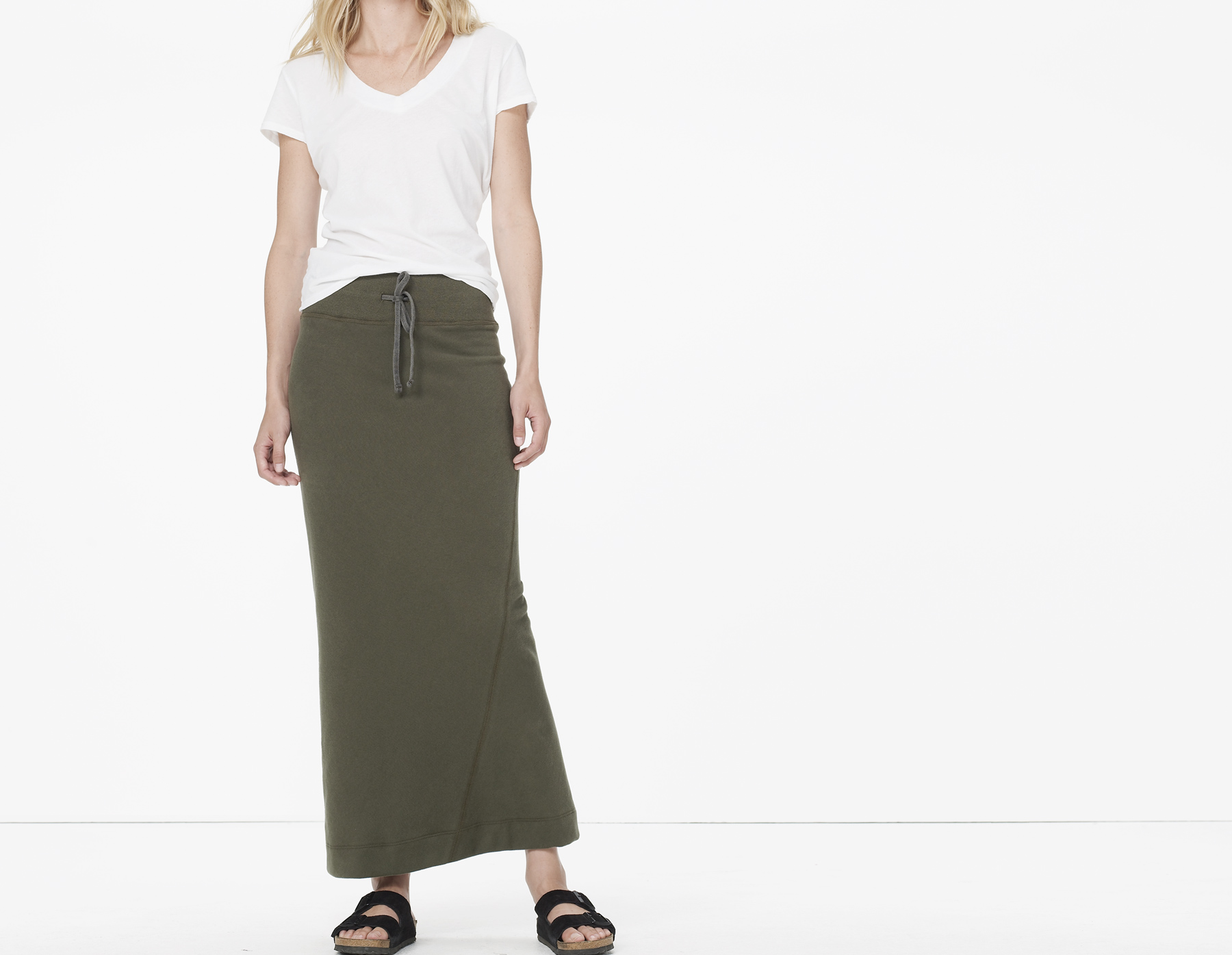 fleece twisted seam maxi skirt in green army