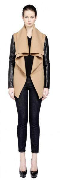 Mackage Vane Camel Wool Coat with Leather Sleeves - Lyst