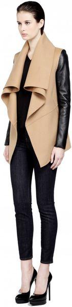 Mackage Vane Camel Wool Coat With Leather Sleeves In Beige