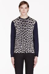 Marc By Marc Jacobs Black Leopard Henley - Lyst