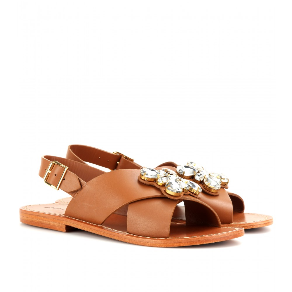 Marni Embellished leather slides buy cheap new store sale online iUG3RpW5Hr