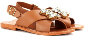 Marni Embellished Leather Sandals - Lyst