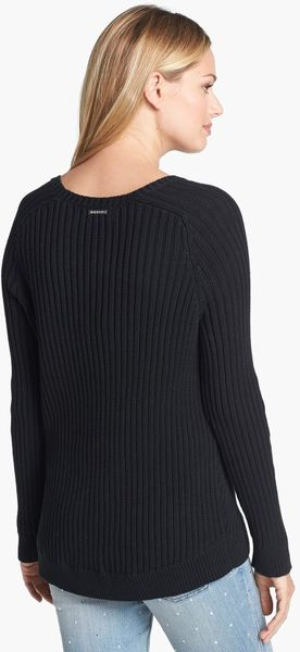 Michael Michael Kors Studded Shoulder Ribbed Sweater In