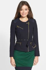 Michael by Michael Kors Leather Trim Belted Tweed Moto Jacket - Lyst
