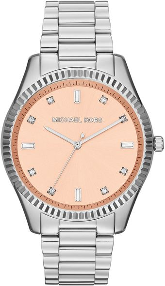 Michael Kors Silver Color Stainless Steel Blake Threehand Glitz Watch - Lyst
