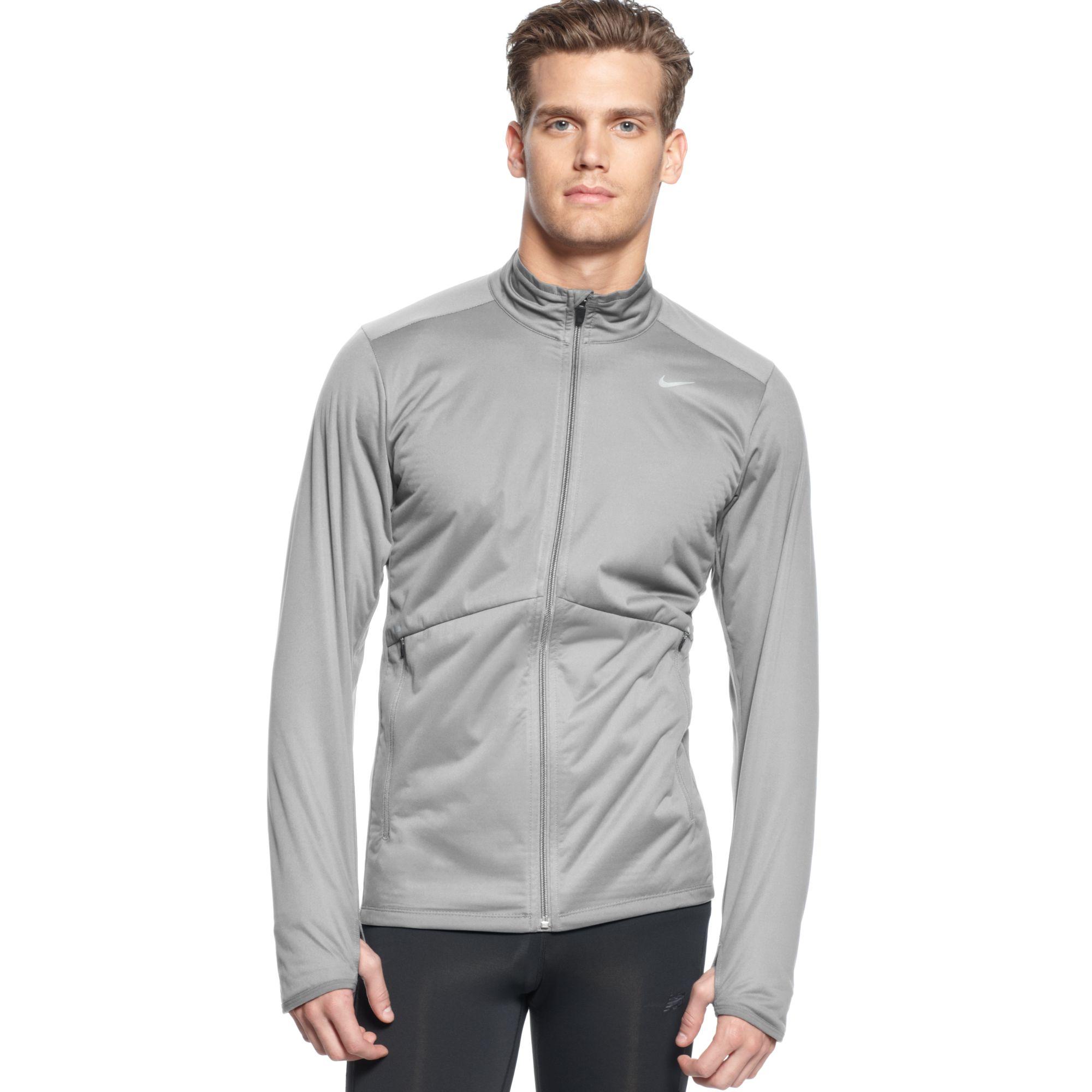 c25358679877 Lyst - Nike Element Shield Drifit Fullzip Running Jacket in Gray for Men