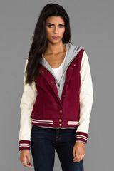 Obey Varsity Jacket in Burgundy - Lyst