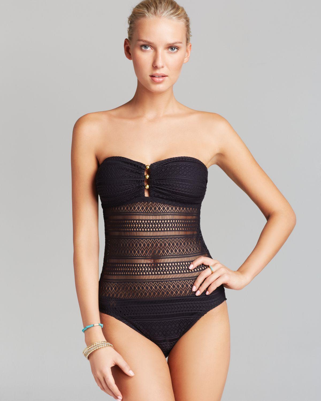 1f5a8695fb460 Lyst - Ralph Lauren Lauren Ava Crochet Strapless One Piece Swimsuit ...