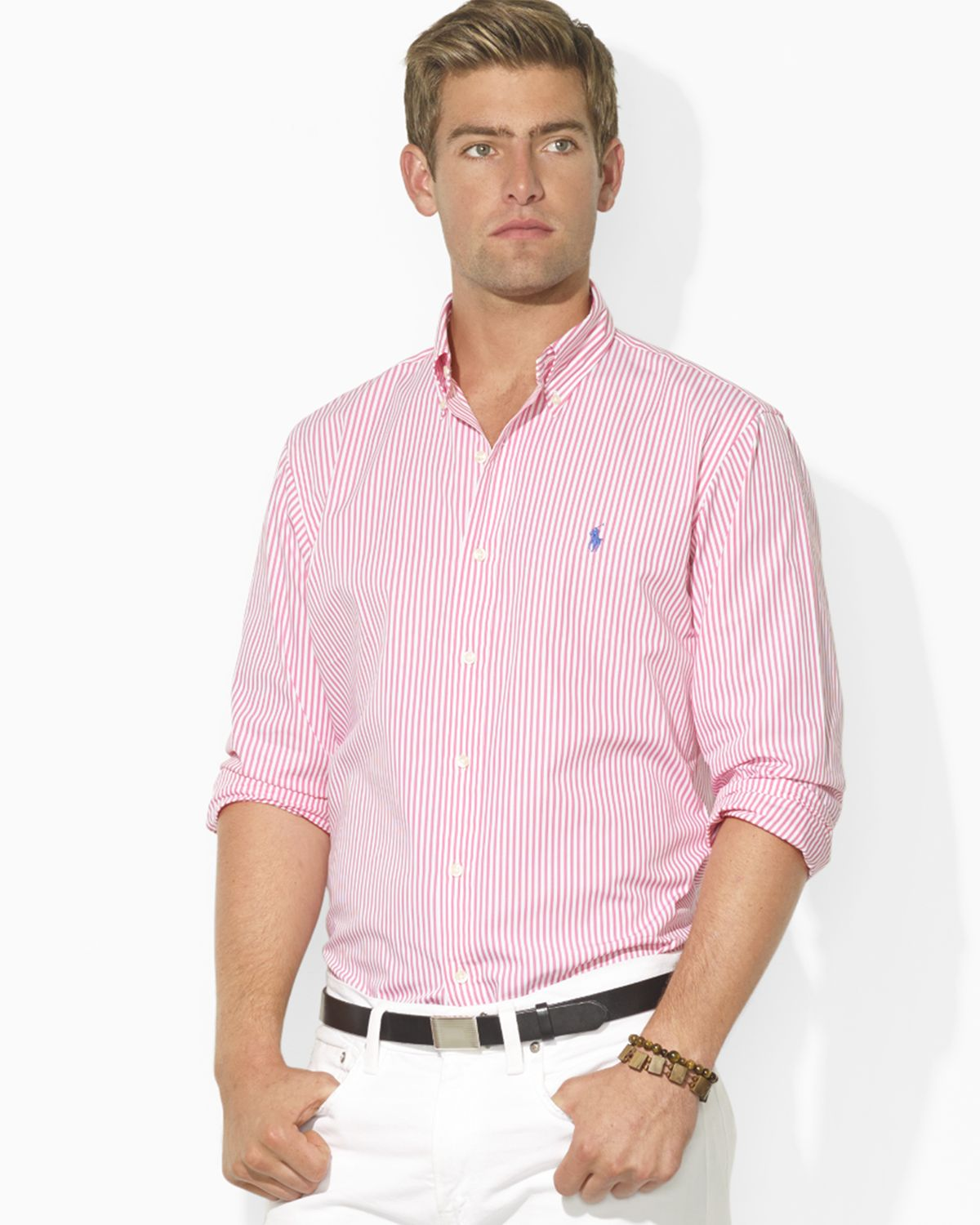 Ralph lauren Polo Custom Fit Striped Poplin Sport Shirt in Pink ...