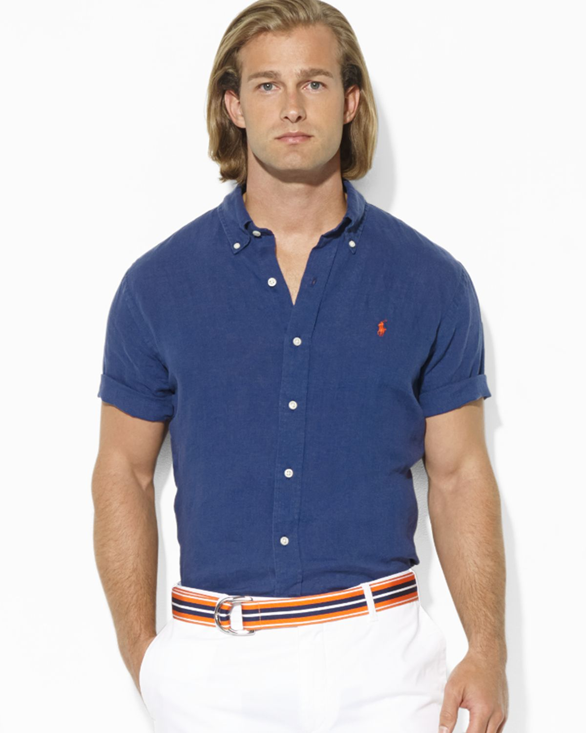 a750431715 Polo Ralph Lauren Custom Fit Shirt Linen Navy