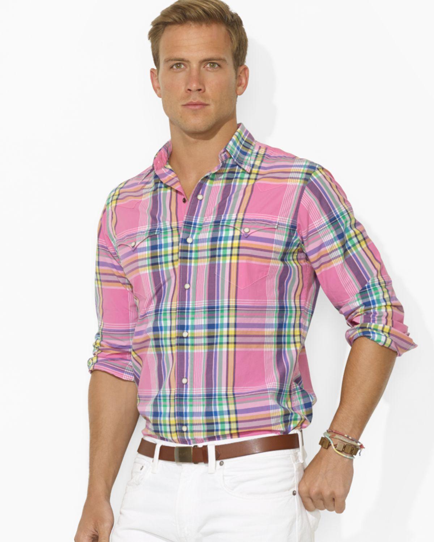 Lyst - Ralph lauren Polo Plaid Poplin Western Shirt in Blue for Men