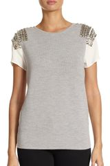Sachin & Babi Pinaccle Embellished Mixed Media Top - Lyst