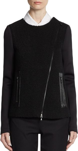Tibi Boucle Front Leather Trimmed Jacket - Lyst