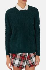 Topshop Cable Knit Sweater - Lyst