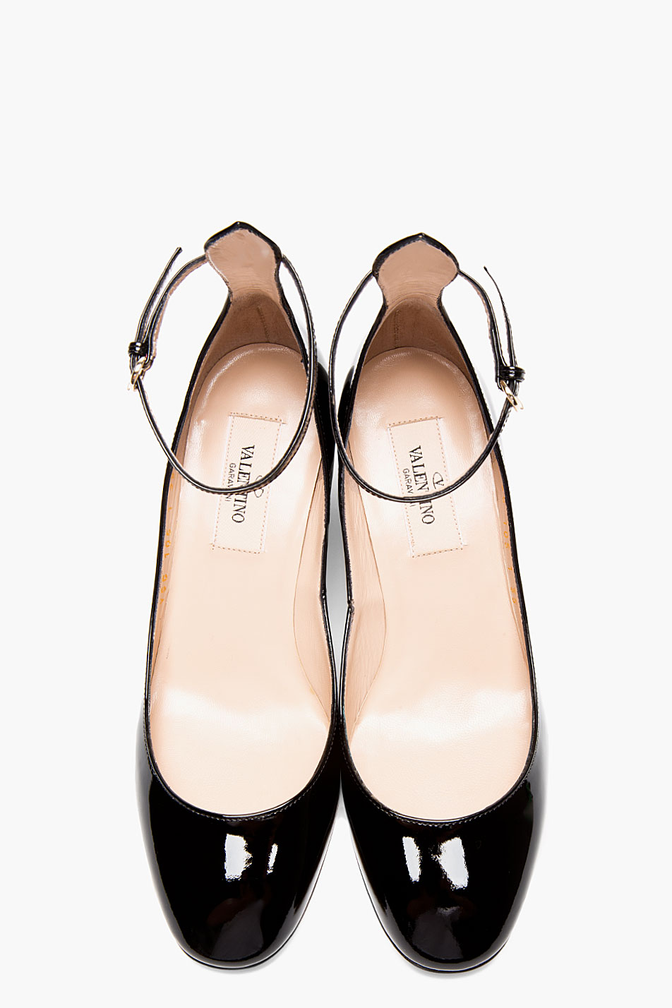 Valentino Black Patent Ankle Strap Mary Janes In Black Lyst