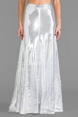 Wildfox Couture Cecilia Sequin Maxi Skirt in Metallic Silver - Lyst