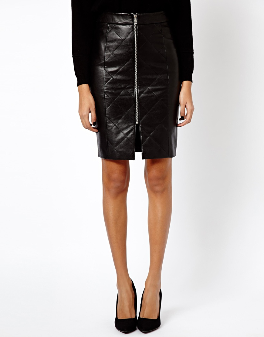 asos warehouse leather zip front pencil skirt in black lyst