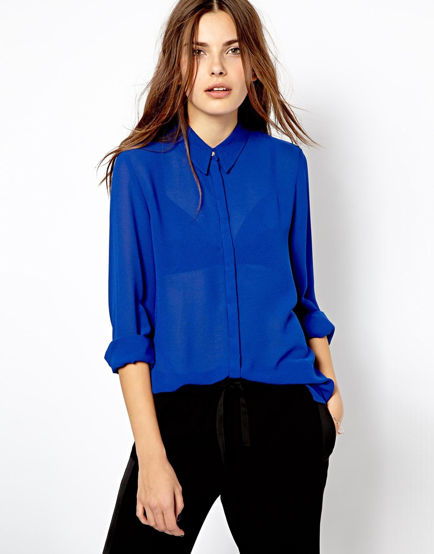 Asos Mango Chiffon Blouse in Blue | Lyst