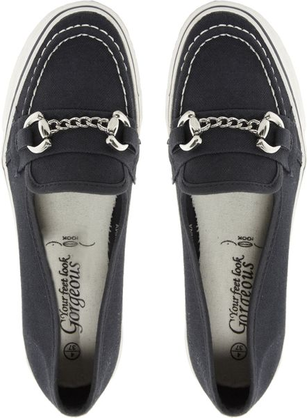 Asos New Look Matey Navy Flat Shoes In Blue Navy Lyst